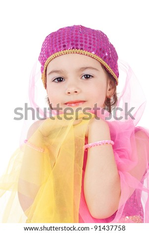 pretty little girl sitting in the costume of the eastern beauty - stock photo