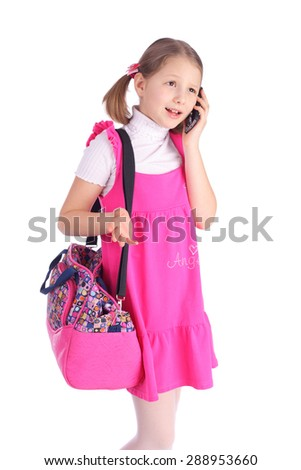 pretty little girl speaking by mobile phone - stock photo