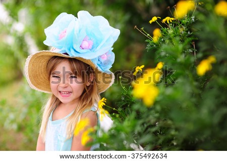 Pretty little girl wearing Easter Hat outdoor