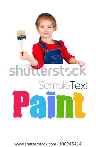 Pretty little girl with a brush and white banner - stock photo
