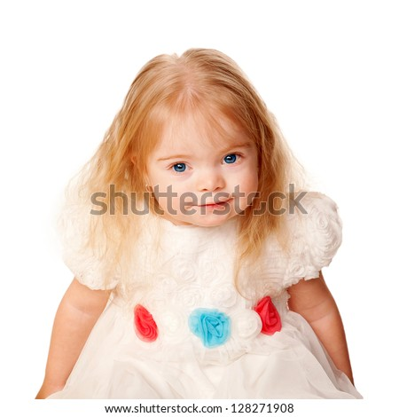 Pretty little girl with blond hair and blue eyes in a beautiful white dress with roses.  Isolated on white background - stock photo