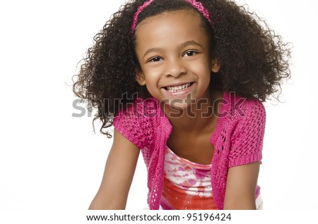 Pretty little girl with cute smiling happy expression - stock photo
