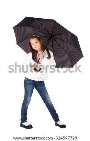 pretty little girl with the big umbrella