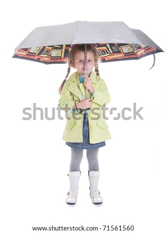 Pretty little girl with umbrella isolated on white background smiling child - stock photo