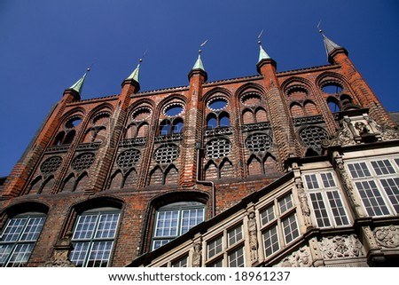 pretty lubeck's facade - stock photo
