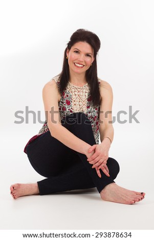 Pretty middle age woman on a white background. - stock photo
