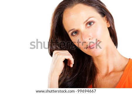 pretty middle aged woman closeup portrait
