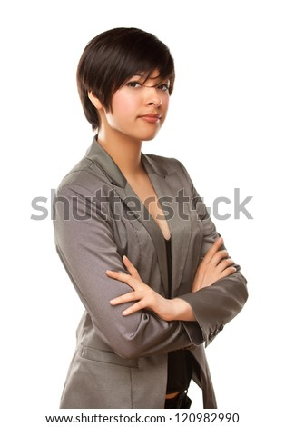 Pretty Mixed Race Young Adult Female Isolated on a White Background. - stock photo