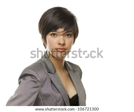 Pretty Mixed Race Young Adult Isolated on a White Background.