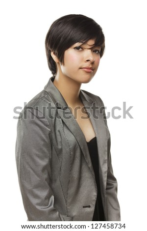 Pretty Mixed Race Young Adult Woman Isolated on a White Background. - stock photo