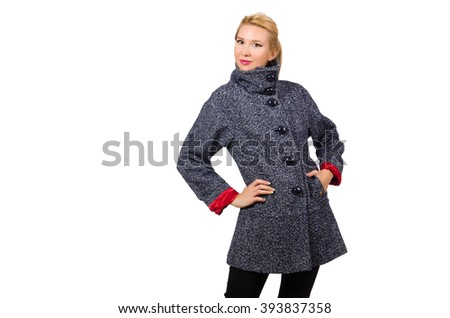 Pretty model in gray coat isolated on white - stock photo