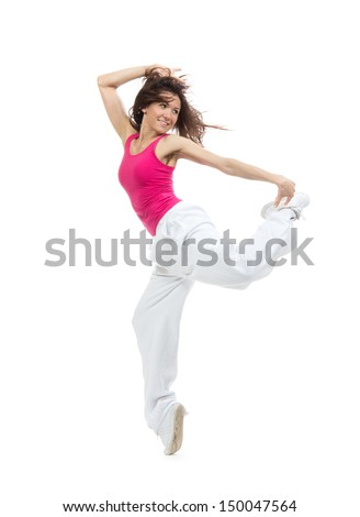 Pretty modern dancer slim hip-hop style teenage girl jumping dancing isolated on a white studio background - stock photo