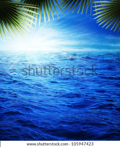 Pretty nice tropical evening on the blue sea, natural backgrounds