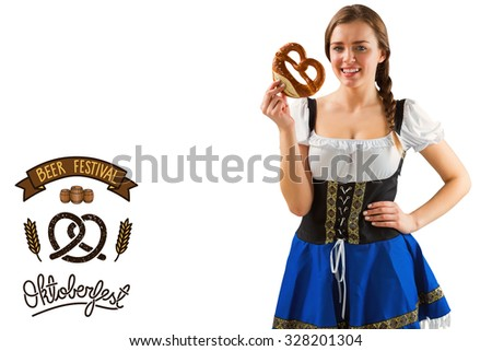 Pretty oktoberfest girl holding pretzel against oktoberfest graphics
