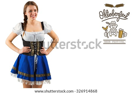 Pretty oktoberfest girl smiling at camera against oktoberfest graphics
