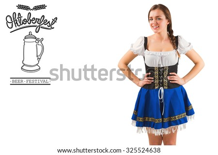 Pretty oktoberfest girl with hands on hips against oktoberfest graphics