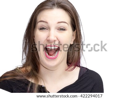 Pretty pale woman with dark hair and green eyes. Isolated on a white background, excited