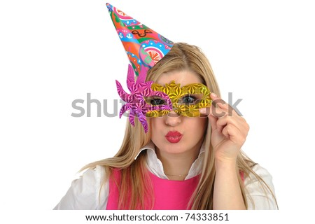 Pretty party female celebrating birthsday and having fun. isolated - stock photo