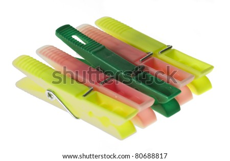 pretty pegs isolated on a white background