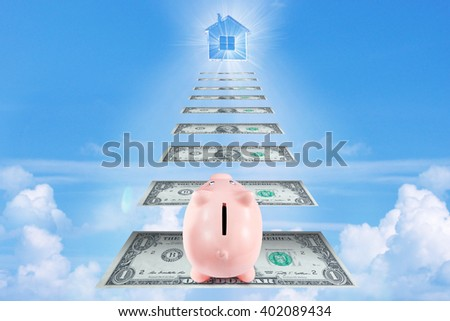 Pretty Piggy Bank Climbing Stairs for Wealth and Success Goes to his Own House Made of Dollar Banknotes Above the Clouds - stock photo