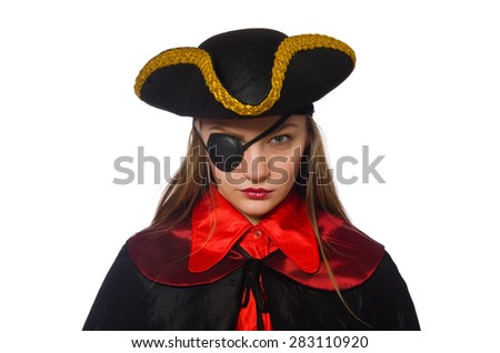 Pretty pirate girl in carnival clothing isolated on white - stock photo