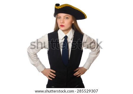 Pretty pirate girl isolated on white