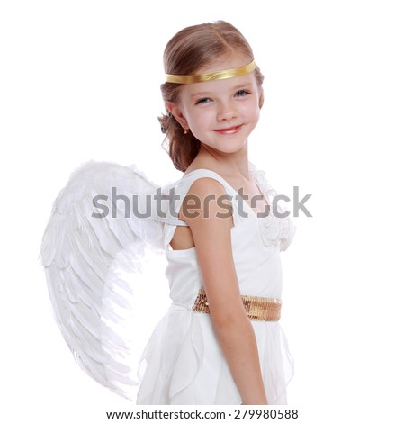 Pretty portrait of young angel girl praying isolated on white background/Charming pretty little princess angel beautiful cute girl on Holiday theme - stock photo