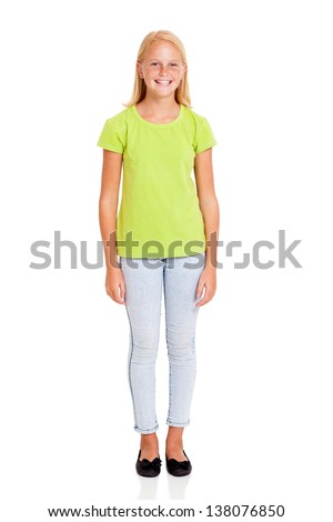 pretty preteen girl full length portrait isolated on white - stock photo