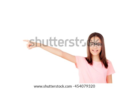 Pretty preteenager girl with glasses isolated on a white background - stock photo