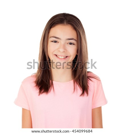 Pretty preteenager girl with glasses pink t-shirt isolated on a white background - stock photo