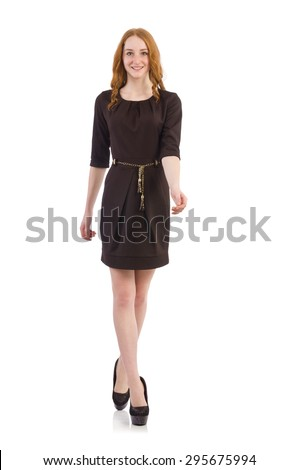 Pretty red hair girl in brown dress isolated on white