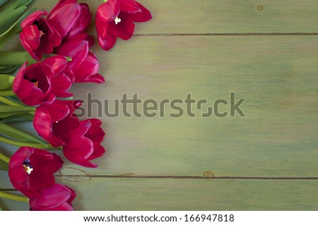 Pretty red tulips picked from the garden on faux painted green wood