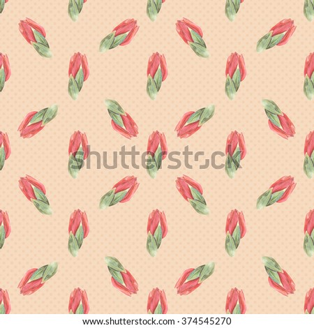 pretty red watercolor tulips on orange pattern