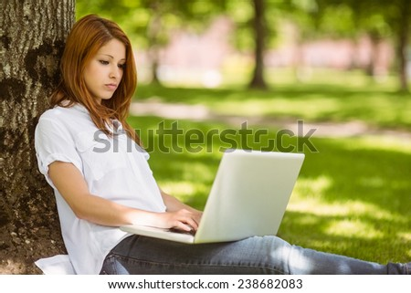 Pretty redhead sitting concentrating with her laptop in park