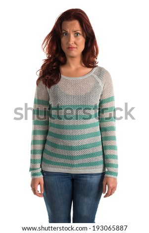 Pretty redheaded woman in a striped sweater