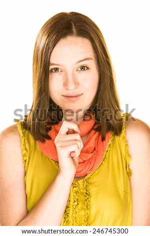 Pretty scheming girl on a white background