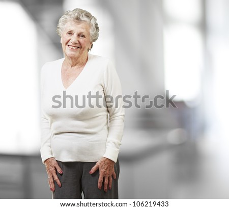 pretty senior woman smiling, indoor