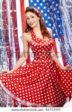 pretty sexy pin-up in red dress - stock photo