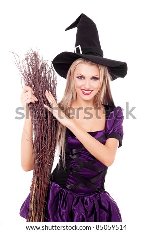 pretty sexy young blond witch with a broom, isolated against white background - stock photo