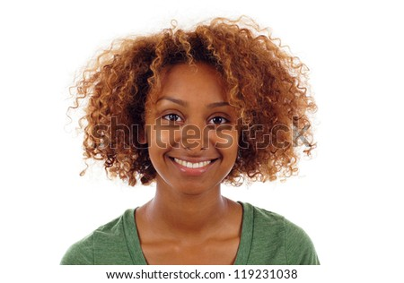 Pretty smiling black woman portrait isolated over white background - stock photo