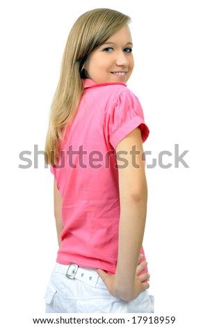 Pretty smiling girl in pink shirt, isolated on white