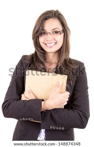 Pretty smiling hispanic teacher  Isolated on white background - stock photo