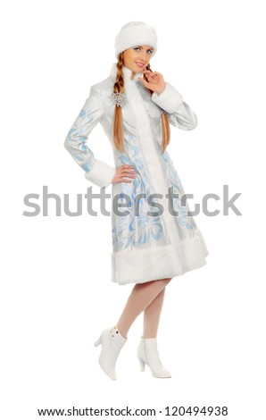 Pretty smiling Snow Maiden. Isolated on white