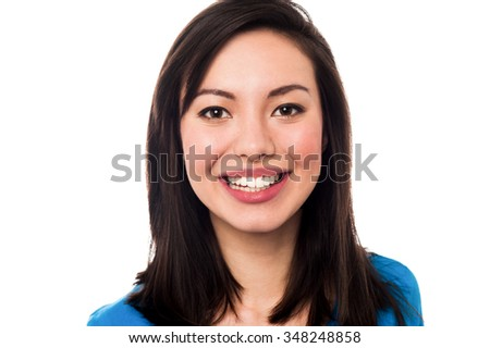 Pretty smiling woman isolated on white