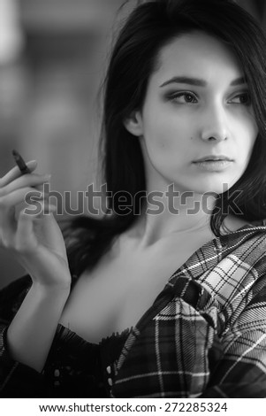 pretty smoking brunette girl monochrome