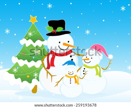 Pretty snowman family on snow and christmas tree background - stock photo