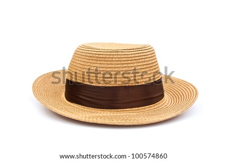 Pretty straw hat isolated on white - stock photo