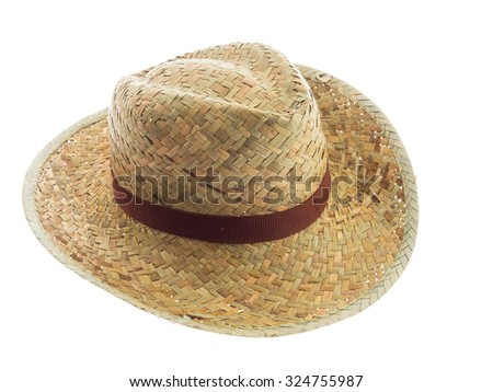 Pretty straw hat isolated on white background, Brown straw hat isolated on white background