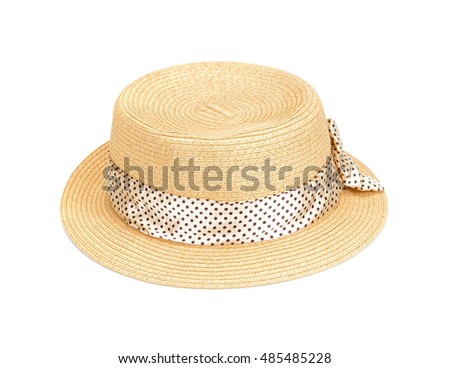 Pretty straw hat isolated on white. Brown straw hat isolated on white background