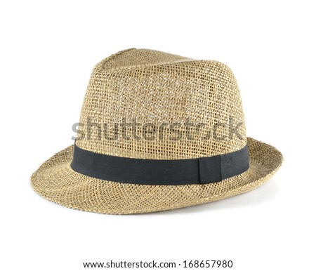 Pretty straw hat on white background - stock photo